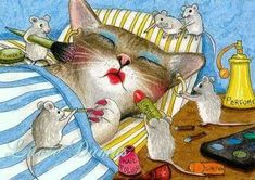 ❤❤❤❤⭐❤⭐❤❤❤ kitty cat n mouse humor joke funny feline karma by Lucie Dumas I Love Cats, Crazy Cats, Cool Cats, Photo Chat, Cat Mouse, Space Cat, Cat Drawing, Cute Illustration, Cat Art