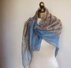 Silk chiffon paisley scarf by foulardfantastique on Etsy, $25.00
