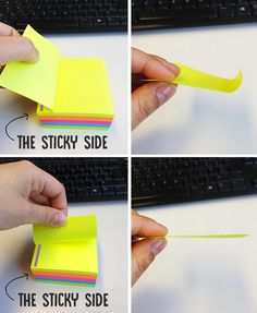 Annoyed that your Post-Its always curl up? You've been pulling them off all wrong. | 33 Genius Life Hacks That Are Actually Useful