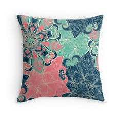 """Beautiful colorful mandala pattern. Elegant indian design."" Throw Pillows by Maria-So 