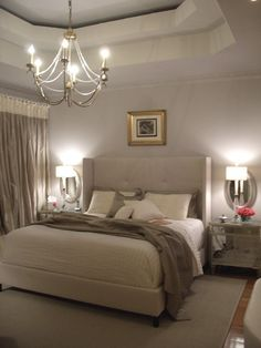Neutrals bedroom. Loving the tray ceiling