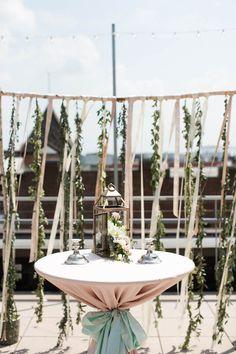 simple hanging greenery + ribbon ceremony backdrop | Abigail Bobo Boho Wedding Decorations, Garland Wedding, Ceremony Decorations, Wedding Centerpieces, Wedding Ideas, Ribbon Backdrop, Wedding Reception Backdrop, Wedding Backdrops, Rooftop Wedding