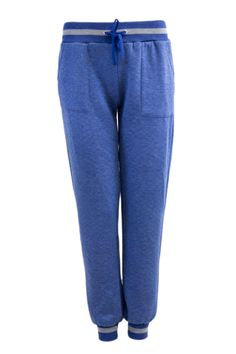 Blue Quilted Drawstring Joggers
