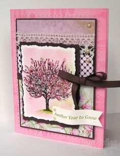 A happy tree card. I think it would be nicer without the tatted lace.