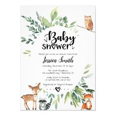 Woodland Baby Shower Invitation Animals Greenery Whimsical invitation with elements of greenery wrea Shower Party, Baby Shower Parties, Baby Shower Themes, Shower Ideas, Shower Favors, Shower Gifts, Animal Theme Baby Shower, Woodland Theme, Woodland Animals