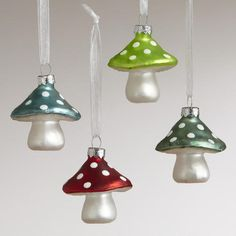 One of my favorite discoveries at WorldMarket.com: Glass Mini Mushroom Ornaments, Set of 4