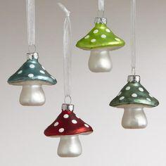 Glass Mini Mushroom Ornaments, Set of 4   World Market