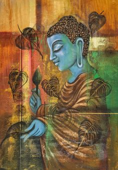 Image result for buddha acrylic art with flower or leaf
