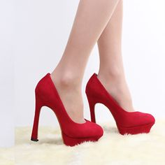 Elegant Round Closed Toe Stiletto High Heels Red Suede Party Basic Pumps