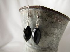 Jet-Black Wirewrapped Earrings TEAR DROP Pierced Earrings | Valentine | Spring 2014 light weight one inch drop | Ready to Ship Gift for her