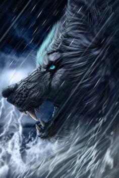 ILLUSTRATION...Attaque d'un Loup dans la tempête! Art par WolfRoad ..