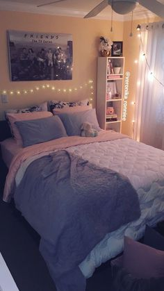 Bedroom decor/gray and pink decor/ white and gray bedroom/ peach bedroom/ Paris inspired/ diy ideas/ queen bed/ Christmas lights/ organized cubicles/ friends tv series lover/ cozy room/ beautiful simp Cute Girls Bedrooms, Cute Bedroom Ideas, Girl Bedroom Designs, Trendy Bedroom, Bedroom Girls, Girl Room, Bedroom Simple, Gray Teen Bedrooms, Bedroom Ideas For Small Rooms Cozy