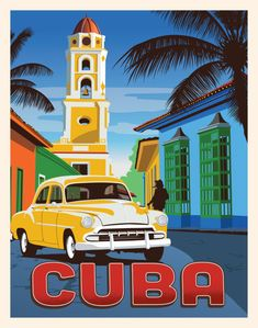 Your favorite destinations in the world are featured as wall art, t-shirts, hoodies, phone cases and more! Cuba Vintage, Vintage Hawaii, Vintage Style, Vintage Ski, Art Deco Posters, Poster Prints, Cuba Art, Poster Retro, City Illustration