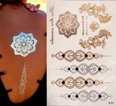 Productos del sexo tatuaje pulseras de oro falso tatuaje temporal del tatuaje de las mujeres del metal de destello de metal oro Plata tatuajes