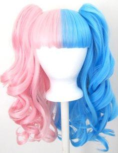Wig 20'' Gothic Lolita  + 2 Pig Tails Set Half Pink Half Blue    Special Price: $46.0