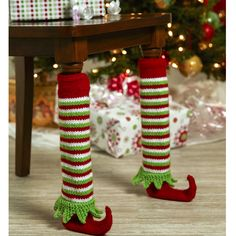 Elf shoe table leg cover - Christmas decorations - Christmas projects - knit for Christmas - Christmas gift ideas - funny holiday