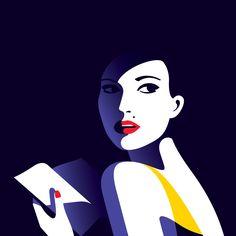 "Malika Favre - Crime Special ""Lire 1"" • un-kitchy, classic art poster style à la Art Deco & Bagel cocktail • french graphic illustrator • official site: http://malikafavre.com"