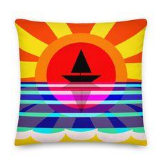 Summer Pillow, Sunset Cushion, Nautical Cushion, Boat Pillow, Decorative Throw Cushion, Graphic Cushion, Coastal Cushion, Fun Home Decor, Neon Room Decor, Throw Cushions, Pillows, Nautical Cushions, Orange Home Decor, Bar Art, Office Art, Decorative Throws, Cool Items