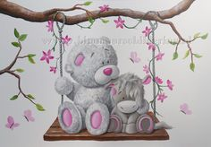 me to you mural Nursery Drawings, Baby Animal Drawings, Kids Room Murals, Bedroom Murals, Tatty Teddy, Baby Painting, Painting For Kids, Nursery Wall Quotes, Teddy Bear Quotes