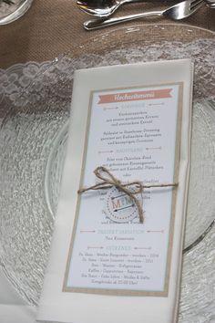 Menükarten Hochzeitsmotto aus M wird M, Pastell und Vintage im Riessersee Hotel…