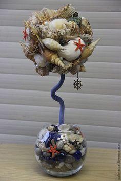 Персональные подарки ручной работы. Ярмарка Мастеров - ручная работа. Купить Топиарий из ракушек. Handmade. Голубой, морская тематика, горшочек