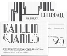 Modern Gatsby Wedding Invitation Set - Great Gatsby, 20's Style typography
