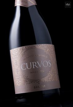 Creative Agency: M&A Creative Agency Project Type: Produced, Commercial Work Client: Quinta de Curvos Location: Anadia, Portugal Packaging Contents: Sparkling wine Packaging Materials: Paper with… Wine Bottle Design, Wine Label Design, Barolo Wine, Wine Logo, Wine Brands, Wine Night, Vintage Wine, Vintage Room, Wine Case