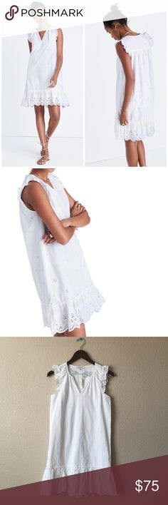 """Madewell White Eyelet Garden Dress w/ruffle Detail Embroidered eyelet inspired by the lace on a 20's nightgown punctuate a breezy cotton shift perfect for warn weather parties or bridal events. Slips on overhead. Split neck. Flutter sleeve. Excellent condition. Some barely there store wear. Length 34"""". Bust 18"""" across. Offers welcome through offer tab. No trades. 10730171121 Madewell Dresses Mini"""