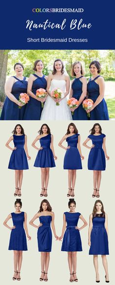 These short bridesmaid dresses in nautical blue color with sweetheart neckline, one shoulder and portrait styles are custom made to all sizes and sold under 100. The cheap bridesmaid dresses are great for summer or fall weddings.