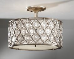 powder room light Lucia Burnished Silver Semi Flush Mount (SF289BUS) Murray Feiss