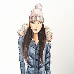 Juno-babe is retiring the shovel for the night ✌️❄️ #fashionillustration #juno #blizzard2015 #fashionillustrator #pufferjacket #copicart