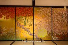 """Four Seasons"" (四季草花図-Shikisōkazu)  fusuma (襖) by Akio Watanabe (渡辺章雄) at the Enkō-ji (圓光寺) Temple Built by Shogun Tokugawa Ieyasu in Kyoto!"