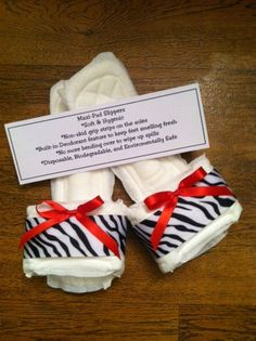 Zebra Print Maxi Pad Bedroom Slippers with Red by kraftsbydonna, $3.75