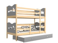 One of the strongest beds on the market. Bunk bed for adults and children. High quality solid pine wood bunk bed with roll-out bed for 3 person complete with. 3 Bunk Beds, Adult Bunk Beds, Wood Bunk Beds, Kid Beds, Pine Wood Furniture, Furniture Board, Roll Out Bed, Wood Daybed, Junior Bed