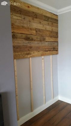 Pallet Furniture Projects Pallet Wall Living Room Pallet Projects Pallet Walls - Got the pallet wood from builders at a construction site near our home. Then, I've simply done a little bit of sanding and staining with specific finishing wood oil. Wooden Pallet Wall, Wooden Pallets, Pallet Walls, Pallet Wall Bedroom, Pallet Ideas For Walls, Wooden Pallet Ideas, Wooden Doors, Pallet Shelves, Pallet Accent Wall