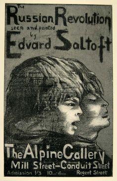 1924 Print Edvard Saltoft Poster Art Russian Revolution Alpine Gallery - Period Paper