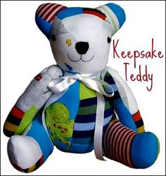 Teddy Bear made from old baby clothes. We are doing this to your baby's clothes Brianna
