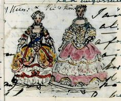 Victoria, Princess Royal and Queen Victoria in costume: pen and ink sketch with watercolor by Queen Victoria, Friday 6th June 1845.