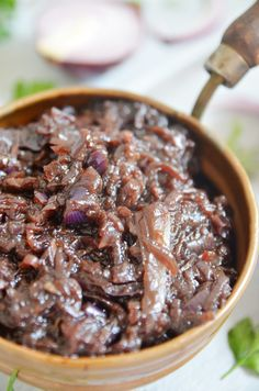 Konfitura z czerwonej cebuli - niebo na talerzu Halloumi, Hummus, Cereal, Beans, Impreza, Vegetables, Breakfast, Recipes, Drink