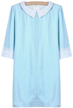 Blue Contrast Lace Lapel Straight Dress - Sheinside.com
