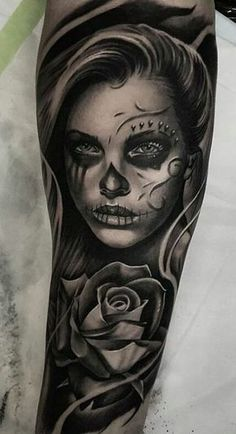 44f19dfba1481 day of the dead tattoo Great Tattoos, Day Of The Dead, Sleeve Tattoos,