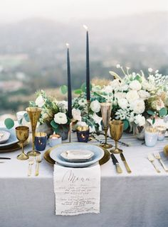 Romantic and Bohemian Blue and Gold Wedding // Candlesticks, Greenery, Centerpieces, Florals, Calligraphy Menu, Vintage Plates, Outdoor #weddingcandlestick