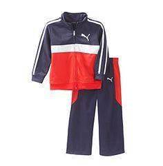PUMA® Baby Boys' Chest Stripe Tricot Set http://www.bonton.com/liveactive