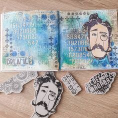 """Leontine Meijer on Instagram: """"It was a long time ago since I made a spread in my art journal. I love this new stamp so much, he is so big! I used some sprays here and…"""" Stampers Anonymous, Long Time Ago, Sprays, Journal Ideas, The Dreamers, Love, Big, Instagram, Amor"""