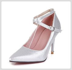 Aisun Damen Elegant Schnalle Pointed Toe Stiletto Pumps Silber 39 EU - Damen pumps (*Partner-Link)