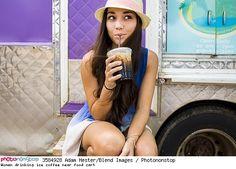 Woman drinking ice coffee