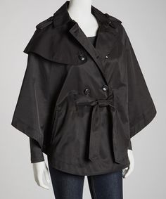 Another great find on #zulily! Black Belted Button-Up Cape-Sleeve Jacket by Betsey Johnson #zulilyfinds