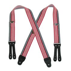 Welch Mens Elastic Button-End American Flag Suspenders (Tall Avail)