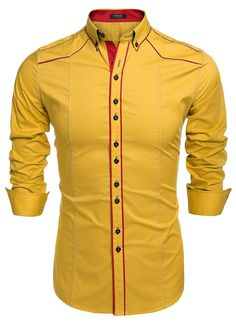 Mens dress slim fit shirts basic designed long sleeve of various colors at Slim Fit Dress Shirts, Slim Fit Dresses, Fitted Dress Shirts, Shirt Dress, Tux Shirt, Casual Shirts For Men, Casual Button Down Shirts, Men Casual, Moda Afro