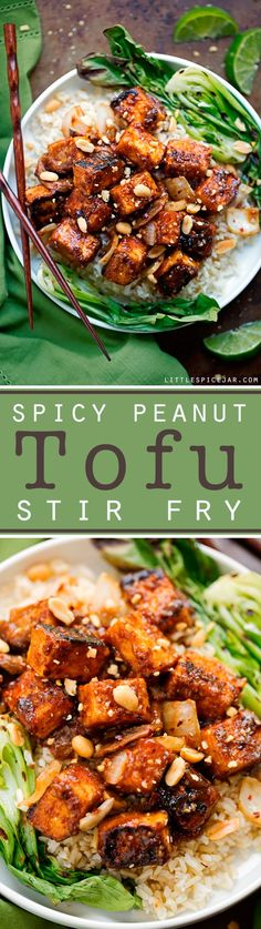 A super flavorful spicy peanut tofu stir fry! The tofu is tossed in a homemade thai-style peanut sauce and is crispy without frying! I'm pan sautéing my tofu along with shiitake mushrooms and sliced Veggie Recipes, Asian Recipes, Cooking Recipes, Healthy Recipes, Noodle Recipes, Simple Recipes, Chicken Recipes, Tofu Dishes, Vegan Dishes